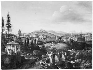 Gezicht op Rome, de tempel van Vesta te Tivoli op de voorgrond
