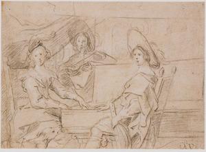 Drie musicerende figuren in een interieur