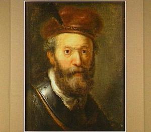 Borststuk van een bebaarde man met baret en halsberg