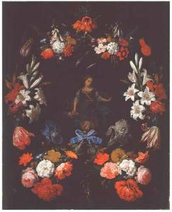 Cartouche, versierd met een bloemenkrans, rondom een voorstelling van een jonge vrouw met bloemenmand, Flora (?)