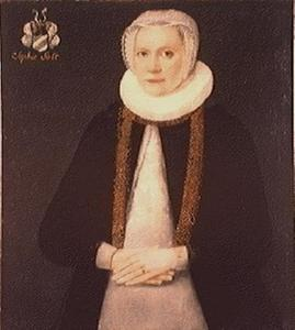 Portret van Sophie Pedersdatter Galt (1543-1603), echtgenote van Christoffer von Festenberg