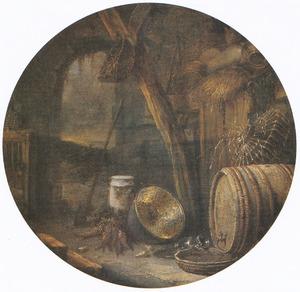 Stal-interieur met groenten en keukengerei