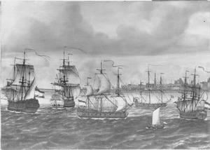 """Het opbrengen van het Franse oorlogsschip """"Le Bourbon"""" door de Vlissinger kaperschepen """"Neptunus"""" en """"Concordia"""" ter rede van Vlissingen, 1702"""