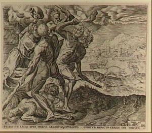 Hercules doodt Geryon; op de achtergrond: Hercules en het Erymantische zwijn
