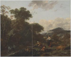 Zuidelijk landschap met houtsprokkelaars