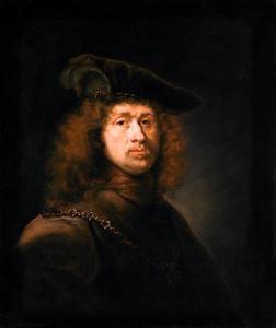Portret van een onbekende man met gevederde baret