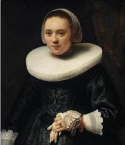 Portret van een vrouw met handschoenen in haar hand