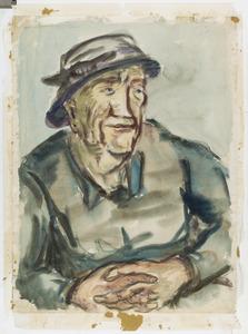 Oude vrouw met hoed in de Provence