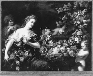 Jonge vrouw en putti met bloemenslingers