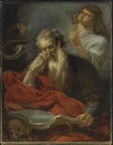 De H. Hiëronymus in zijn studeervertrek, geroepen door de trompet van het Laatste Oordeel