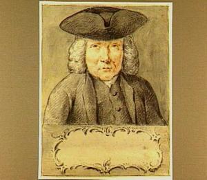 Portretbuste van een man met driehoekige steek boven een cartouche