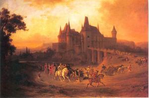 Koning Mathias (1443-1490) keert terug van de jacht naar het Vajdahunvad kasteel