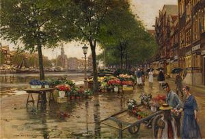 Bloemenmarkt aan het Singel te Amsterdam
