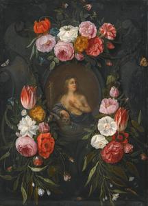 Heilige Maria Magdalena in een stenen cartouche omgeven door een guirlande van bloemen