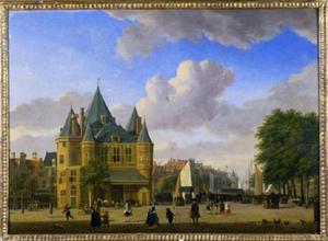 De Waag op de Nieuwmarkt in Amsterdam met in het verschiet de Geldersekade met de Schreierstoren