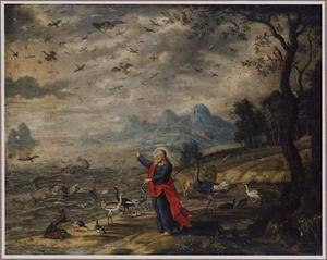Landschap met de schepping van de vissen en de vogels