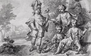 Groepsportret van vier kinderen