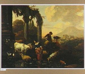 Zuidelijk landschap met herders en hun vee bij een doorwaadbare plaats