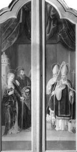 De HH. Barbara en Andreas (links), de HH. Willibrordus en Nicolaas (rechts)