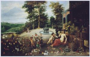 Allegorie van de reuk (een van de vijf zintuigen): een vrouw in een bloementuin