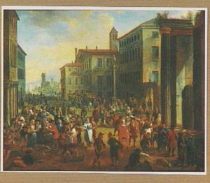 Gezicht op een mediterraan stadsplein waar markt gehouden wordt
