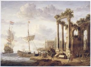 Zuidelijk landschap met antieke ruïne en schepen