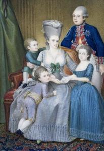 Familieportret van stadhouder Willem V (1748-1806), Wilhelmina van Pruisen (1751-1820) en hun drie kinderen