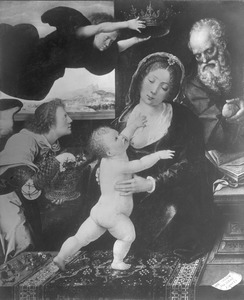 De Heilige Familie met twee engelen