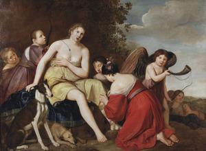 Diana en haar nimfen ter voorbereiding van de jacht