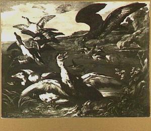 Arend en een hond die eenden opjagen