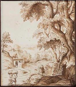 Boslandschap met zakken dragende figuren