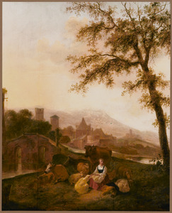 Zuidelijk berglandschap met een herderin en haar vee rustend bij een brug