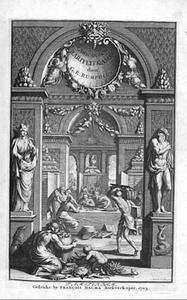 Interieur met verzamelaars rondom een tafel, schelpen bewonderend