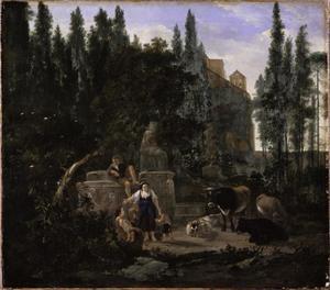 Zuidelijk parklandschap met herders en vee bij een standbeeld