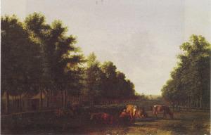 Gezicht op het Haarlemmerhout met de Grote Houtpoort in de verte