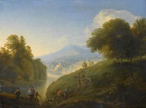 Berglandschap met herders en boeren onderweg