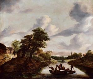 Rivierlandschap met figuren en paard op een veerboot