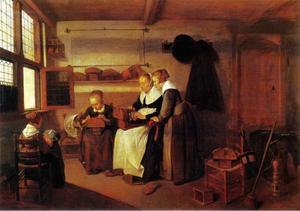 Interieur met  een vrouw die drie meisjes kantklossen leert
