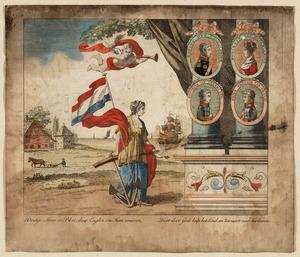 Allegorische voorstelling met portretten van koning Willem I (1772-1843) , zijn vrouw en zijn twee zonen