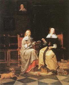 Twee jonge vrouwen in een interieur