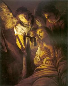 Maria Magdalena met twee engelen
