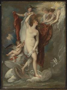 Venus bij haar geboorte aangekleed door de drie Gratiën
