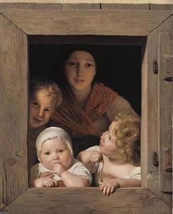 Jonge boerin met drie kinderen in een venster