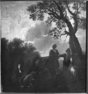 Herderin en jongen met vee onder een boom