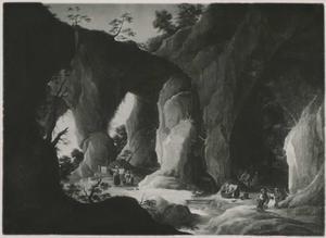 Landschap met wasvrouwen en zigeuners in een grot