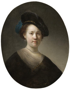 Borststuk van een jonge vrouw met gevederde baret