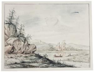 Rivierlandschap met kasteelruine