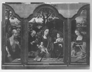 De H. Hieronymus (links); De Heilige Familie met een engel (midden); De H. Catharina (rechts)