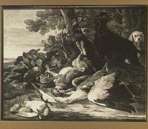 Twee honden in een landschap bij een buit van haas, reiger, eenden en ander gevogelte