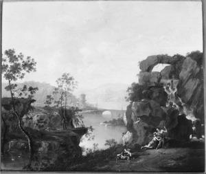 Zuidelijk landschap met Venus en Adonis